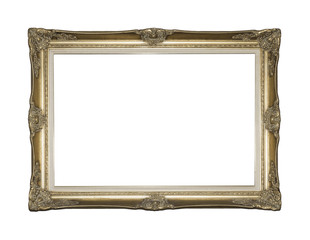 GILDED BAROQUE STYLE PICTURE FRAME ISOLATED AGAINST WHITE
