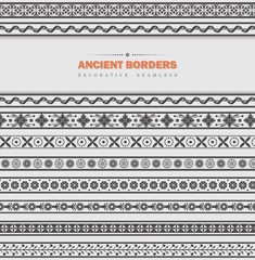 Set of seamless ancient borders
