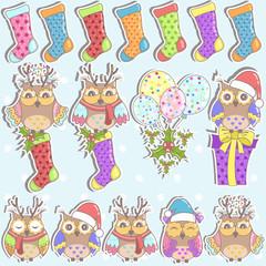 Christmas set of owls, gifts, Christmas socks and balloons