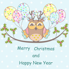 Christmas card with Christmas owl on a blue background
