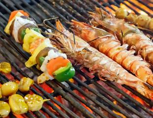 GRILLED SEAFOOD King tiger prawn shrimp