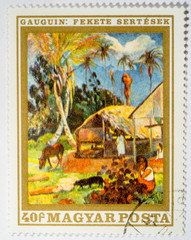 stamp printed by Hungary, shows black pigs, by Paul Gauguin, circa 1969
