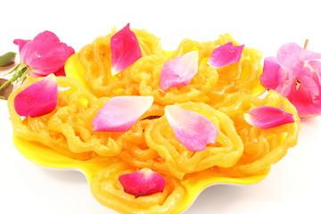 popular Indian sweet  jalebi  dish isolated on white background