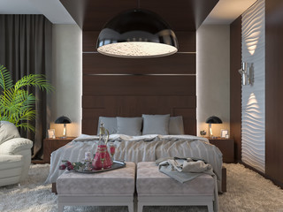 3d illustration of bedrooms in brown color