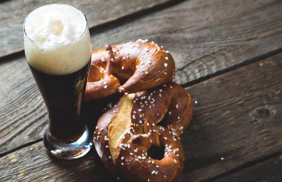 Dark beer and salted pretzel
