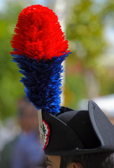 Close up feather plumed bicorne carabinieri, italian policemen