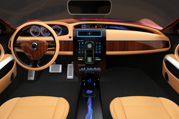 Stylish electric car interior with luxury wood pattern decoration.
