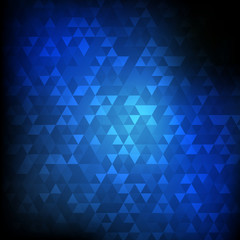 Vector : Abstract triangle on blue background
