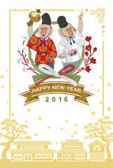 Japanese dressed two monkeys - Japanese new year card