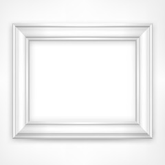 Picture white wooden frame isolated on white, vector