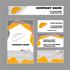 Set of business card template for construction business
