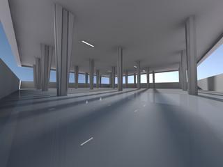 Empty underground parking area 3D rendering