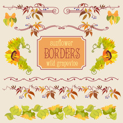 Border elements set with sunflower and grape