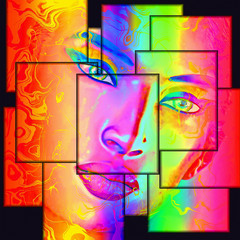 A colorful, abstract, pop art image of a woman's face against a black background. This modern digital art image of a woman's face, close up with colorful abstract background