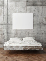 Poster on concrete wall, empty bed, 3d render