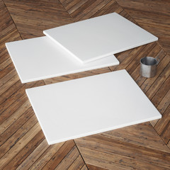 Art canvas on wooden floor, 3d render