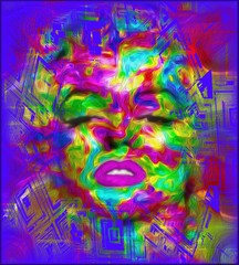 Pop Culture is one of our unique, colorful abstract digital art images of a classic blonde bombshell in the likes of a Marilyn pop art style.
