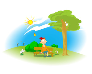 Summer day in the city park. Illustration of a boy sitting on a bench in a city park with trees, flowers, butterfly and with people playing ball and sun with blue sky in the background. Poster. Vector
