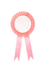 Pink fabric award ribbon isolated on white background
