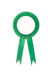 Green fabric award ribbon isolated on white background