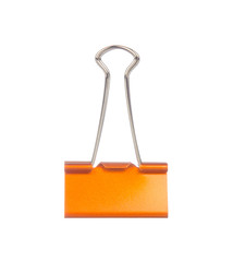 Orange paper clip isolated on white background