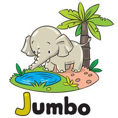 Little funny elephant or jumbo. Alphabet J