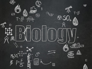 Science concept: Biology on School Board background