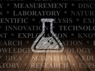 Science concept: Flask in grunge dark room