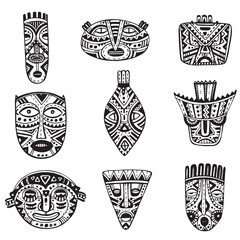 Vector set of hand drawn fancy masks in african style.