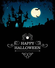 Vector Illustration of a Halloween Background with Scary Castle