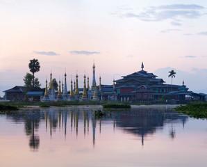 Buddhist pagoda and monastery on Inle lake, Shan state, Myanmar