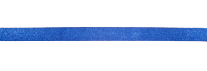 narrow blue satin ribbon isolated on white