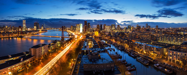 Zelfklevend Fotobehang Rotterdam Beautiful aerial view of the skyline of Rotterdam, the Netherlands, at twilight