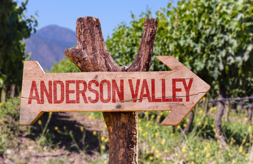 Anderson Valley wooden sign with winery background
