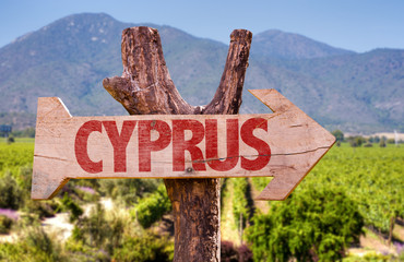 Cyprus wooden sign with winery background