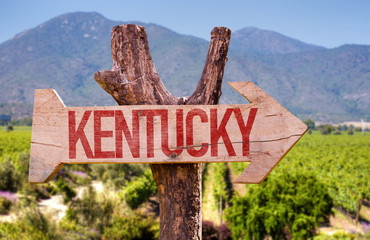 Kentucky wooden sign with winery background