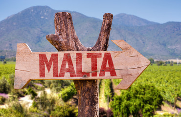 Malta wooden sign with winery background