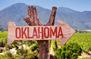 Oklahoma wooden sign with winery background