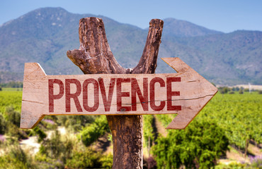Provence wooden sign with winery background