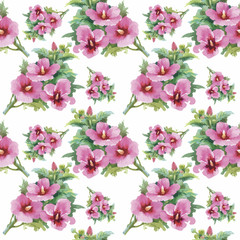 Seamless pattern with Beautiful flowers, Watercolor painting