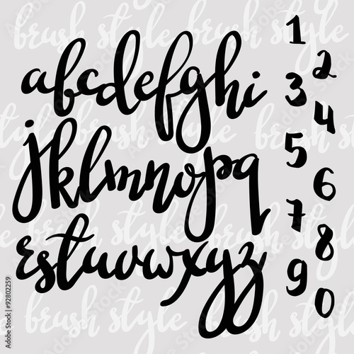Quot handwritten brush pen modern calligraphy font stock