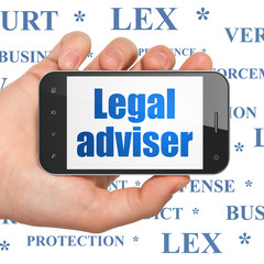 Law concept: Hand Holding Smartphone with Legal Adviser on