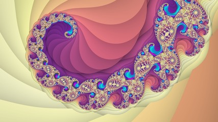 Digitally created colorful fractal spiral background
