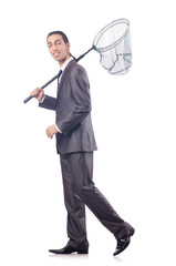 Funny businessman with catching net on white