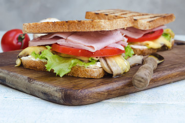 Tasty healthy sandwiches at white wooden table. Rustic style.