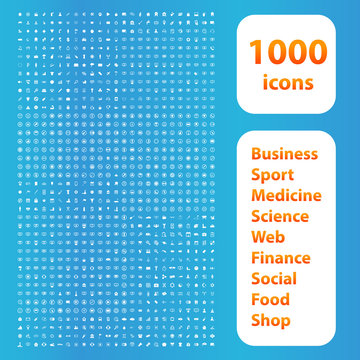1000 icons white set