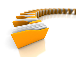 Yellow Office Document Folders On White Background