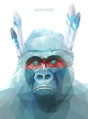 Monkey polygonal illustration. Vector  eps 10
