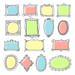 Vector design elements. Sketch of hand drawing frames and border