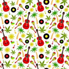 Reggae seamless vector pattern